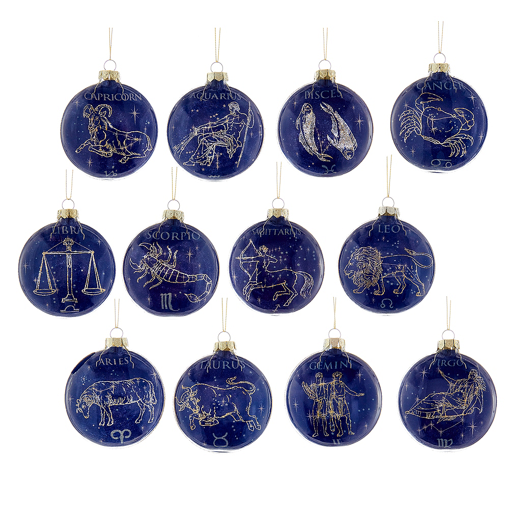 Kurt Adler Glass Zodiac Ornaments 12ct Image #1
