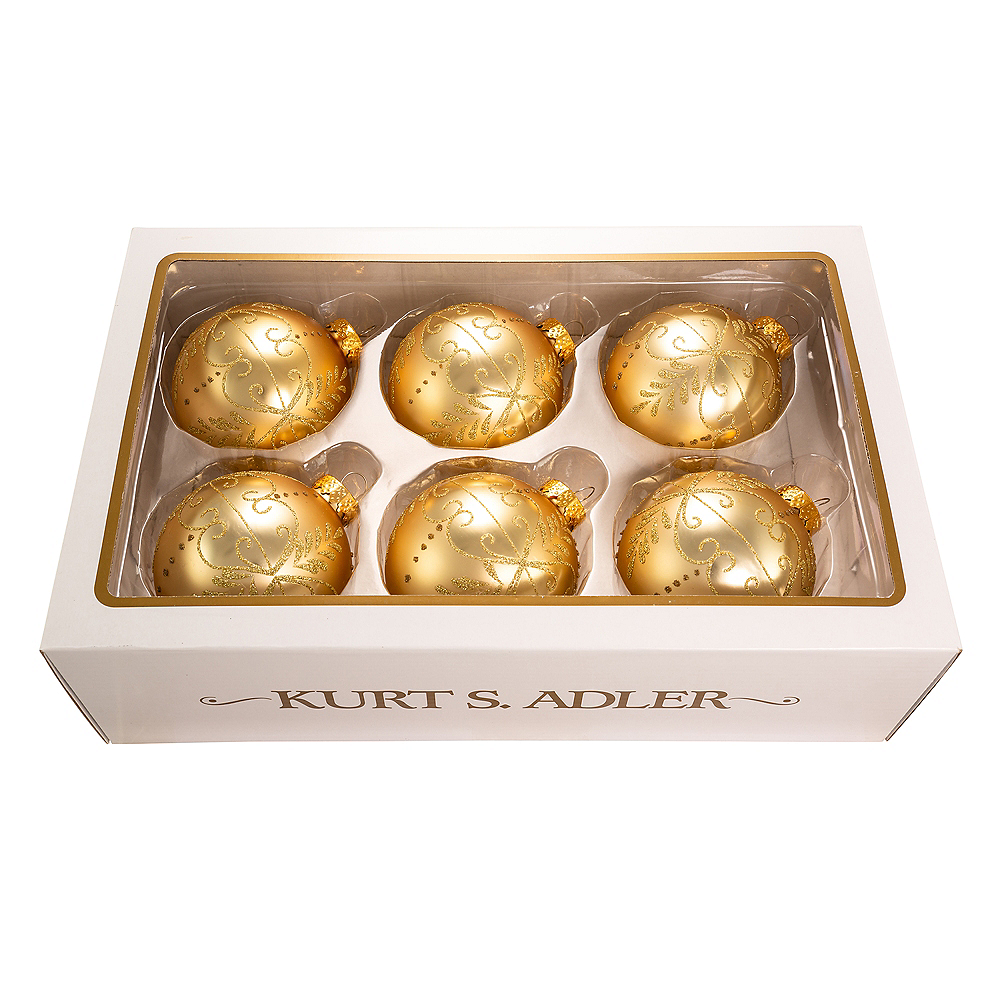 Kurt Adler Gold Pattern Glass Ball Ornaments 6ct Image #1