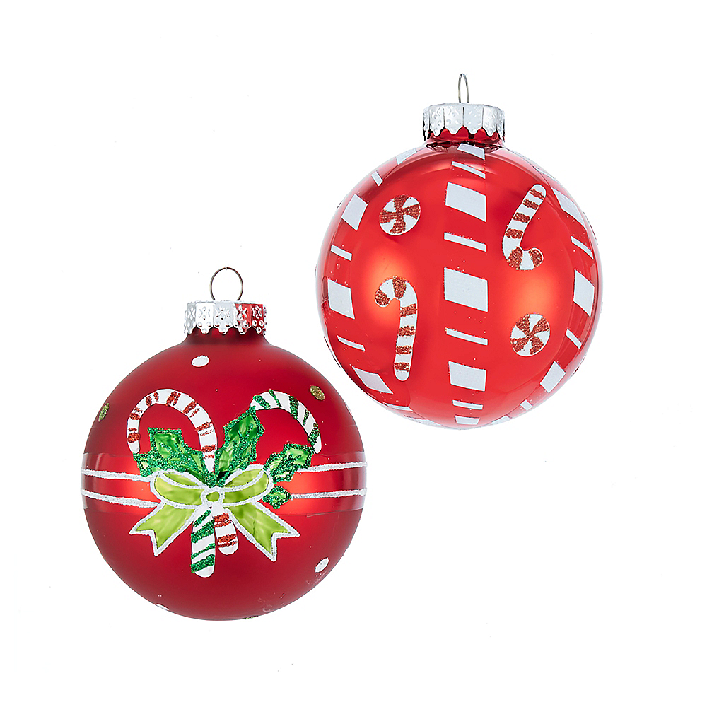 Kurt Adler Matte & Shiny Red with Candy Canes Glass Ball Ornaments 6ct Image #1