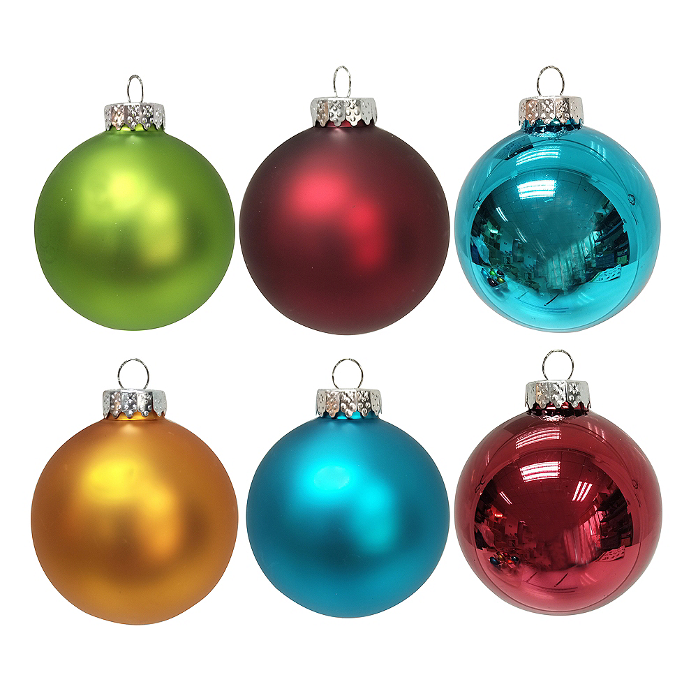 Kurt Adler Multi-Colored Matte and Shiny Solid Glass Ball Ornaments 6ct Image #1