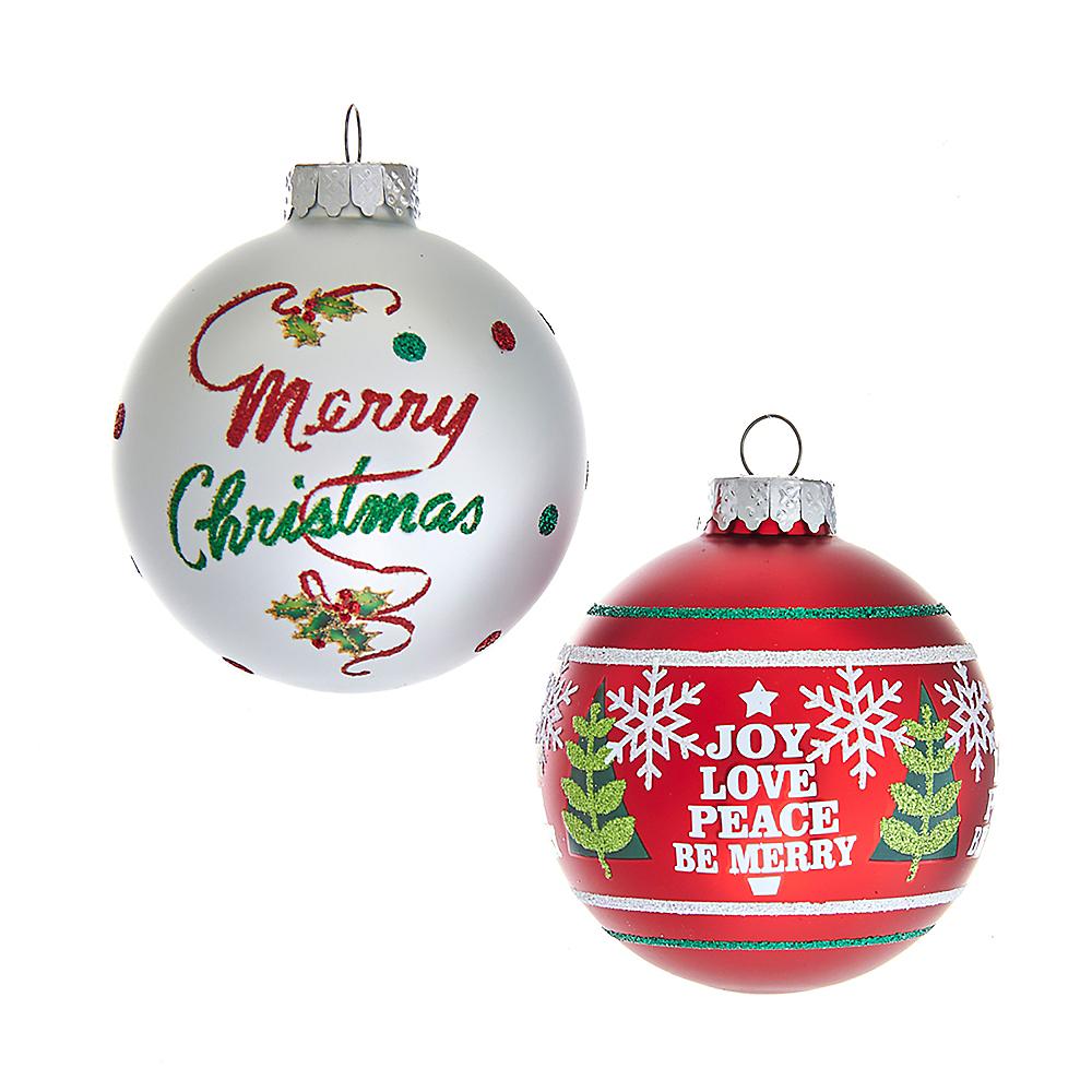 Kurt Adler Red & White Christmas Saying Glass Ball Ornaments 6ct Image #1