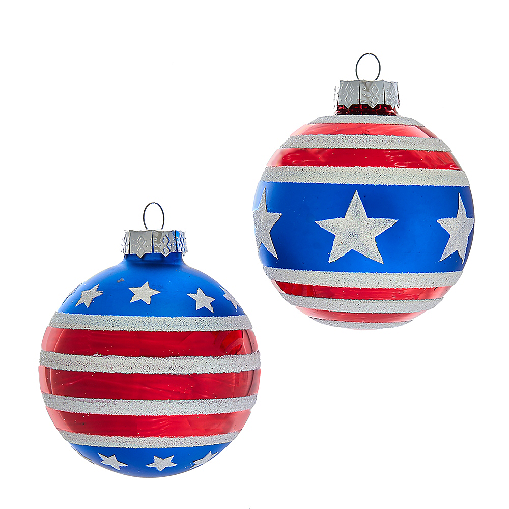 Kurt Adler Red, White and Blue Stars and Stripes Glass Ball Ornaments 6ct Image #1