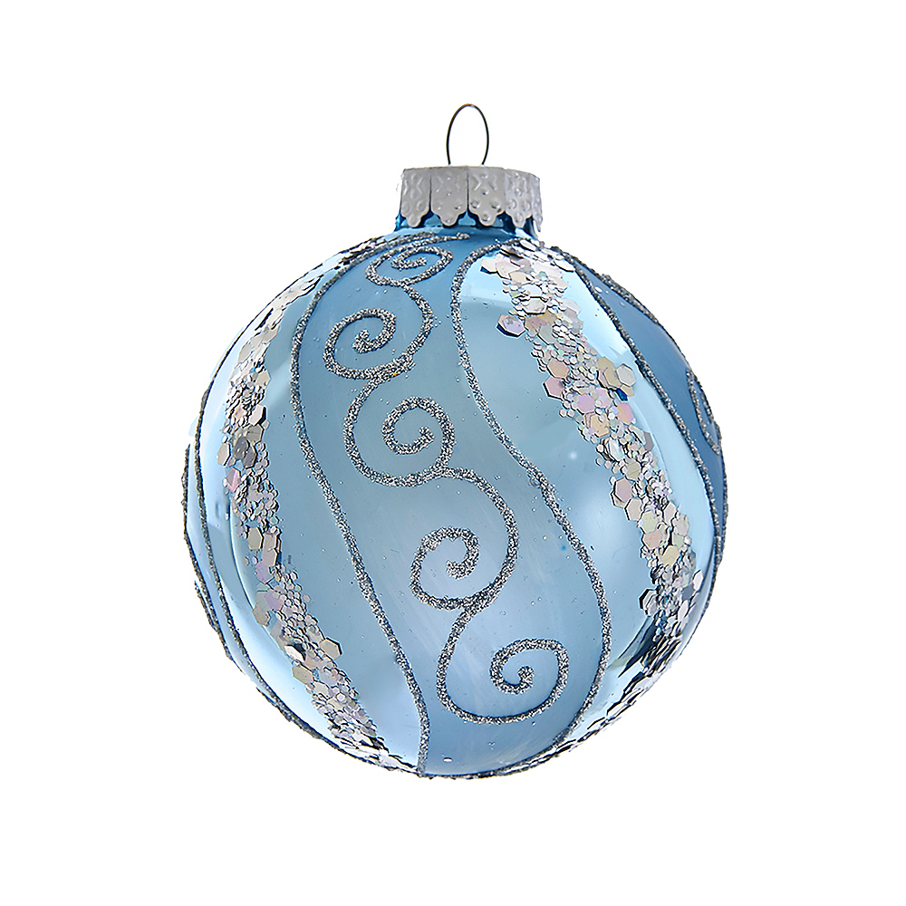 Kurt Adler Silver Blue with Glitter & Sequins Glass Ball Ornaments 6ct Image #1