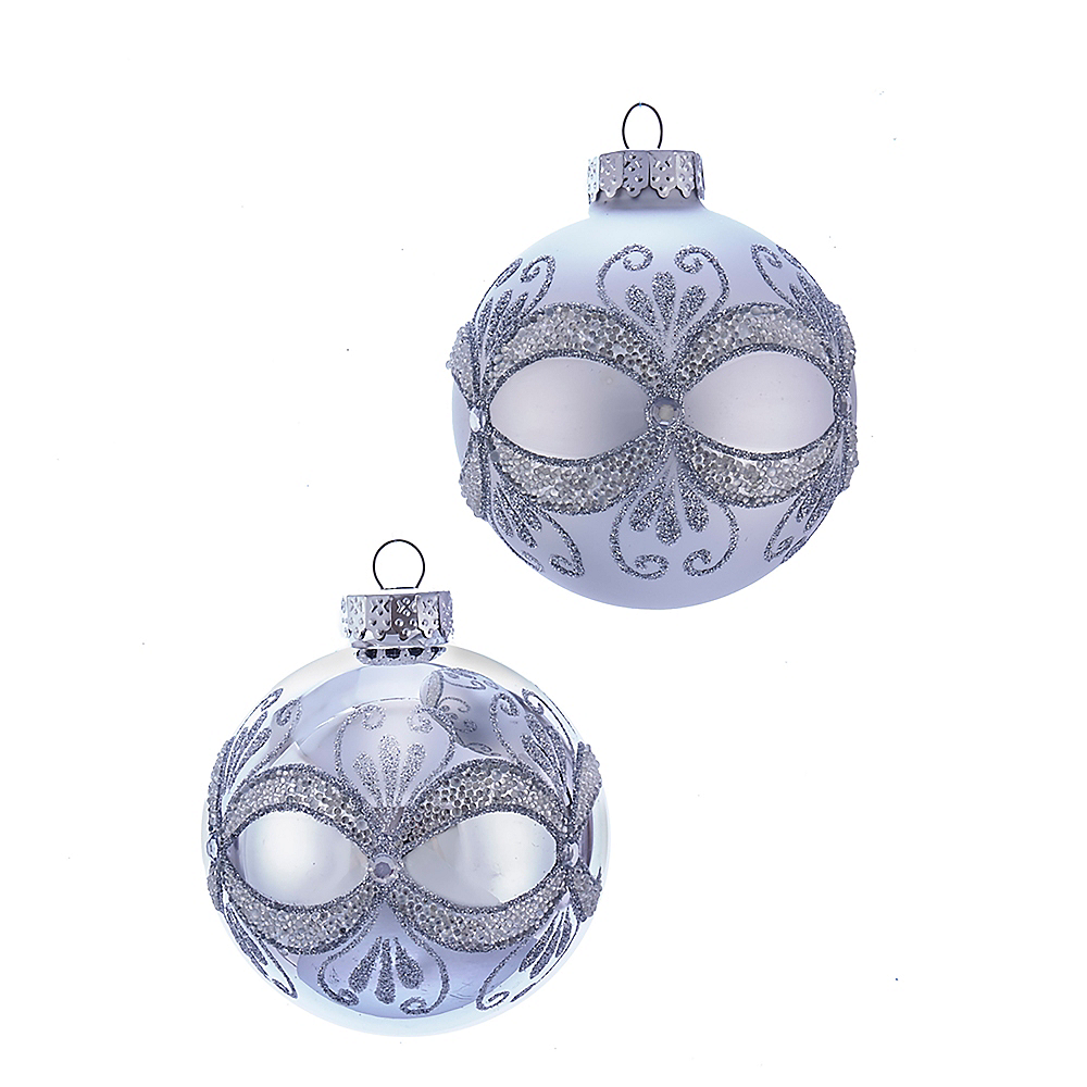 Kurt Adler Silver with Glitter & Sequins Glass Ball Ornaments 6ct Image #1