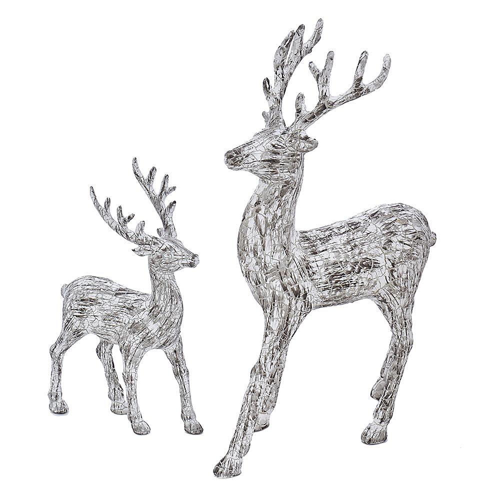 Kurt Adler Artificial Bark Standing White Deer Tabletop Decor 2ct Image #1