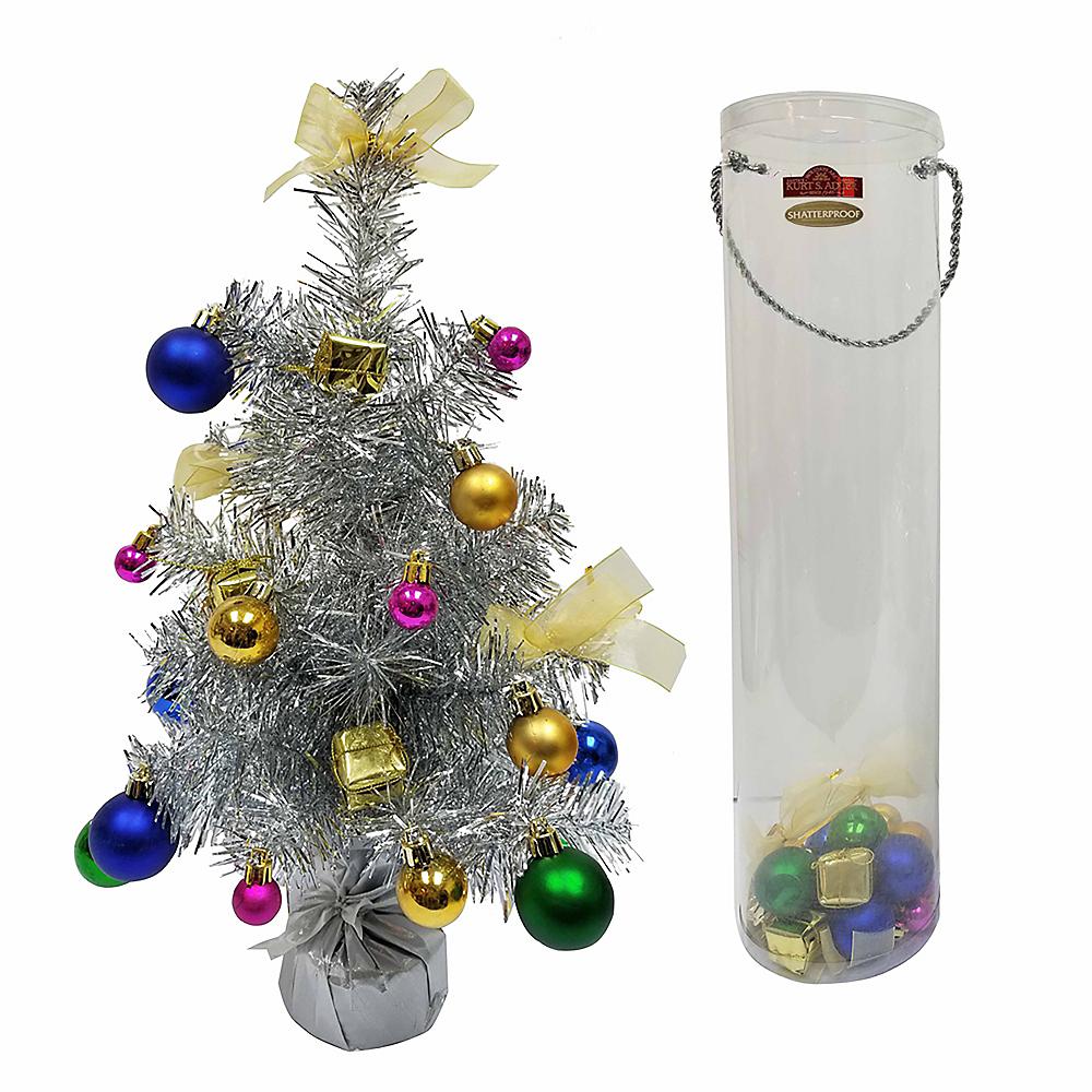 Kurt Adler Silver Tinsel Mini Tree Decoration Kit Image #1
