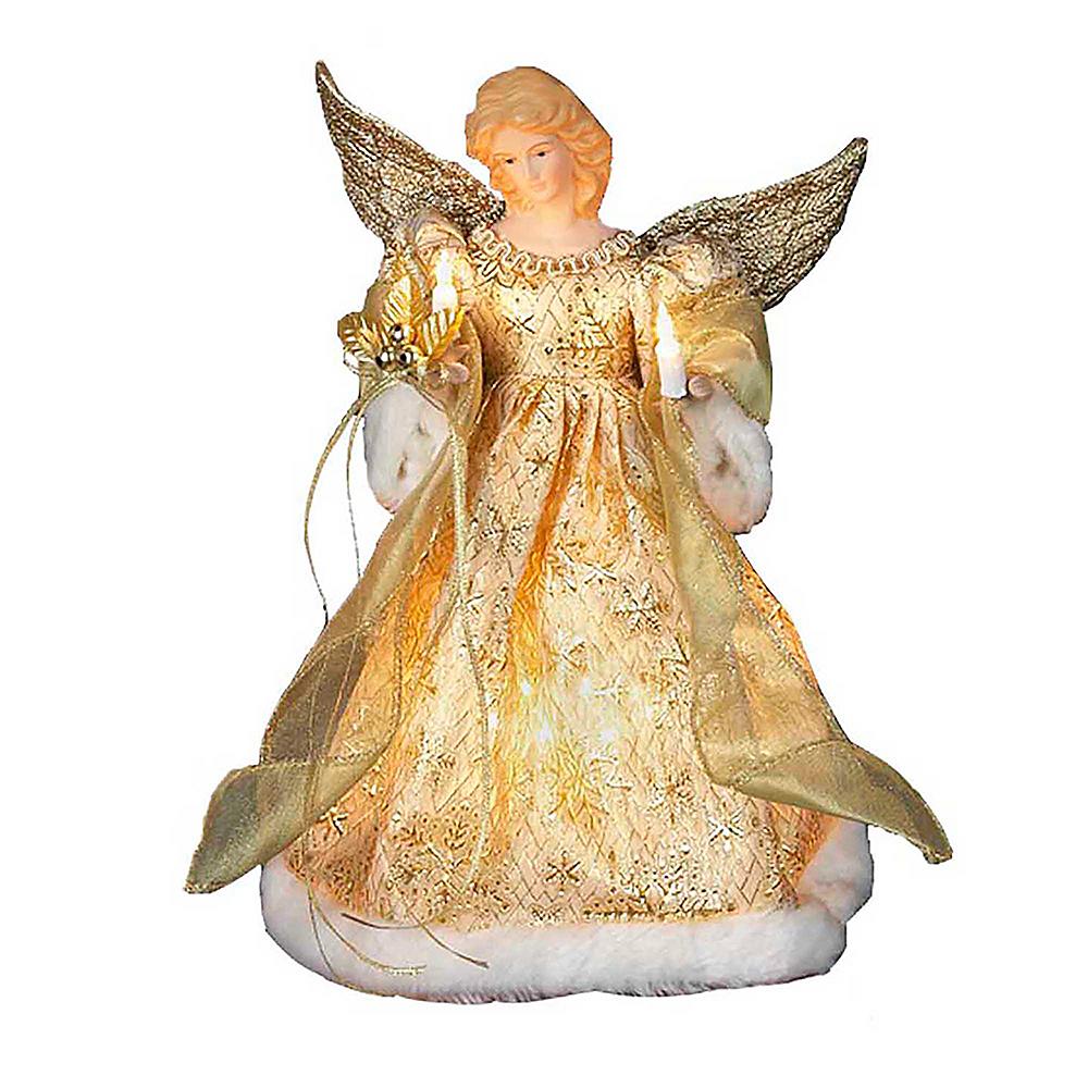 Kurt Adler Light-Up Gold Angel Tree Topper Image #1