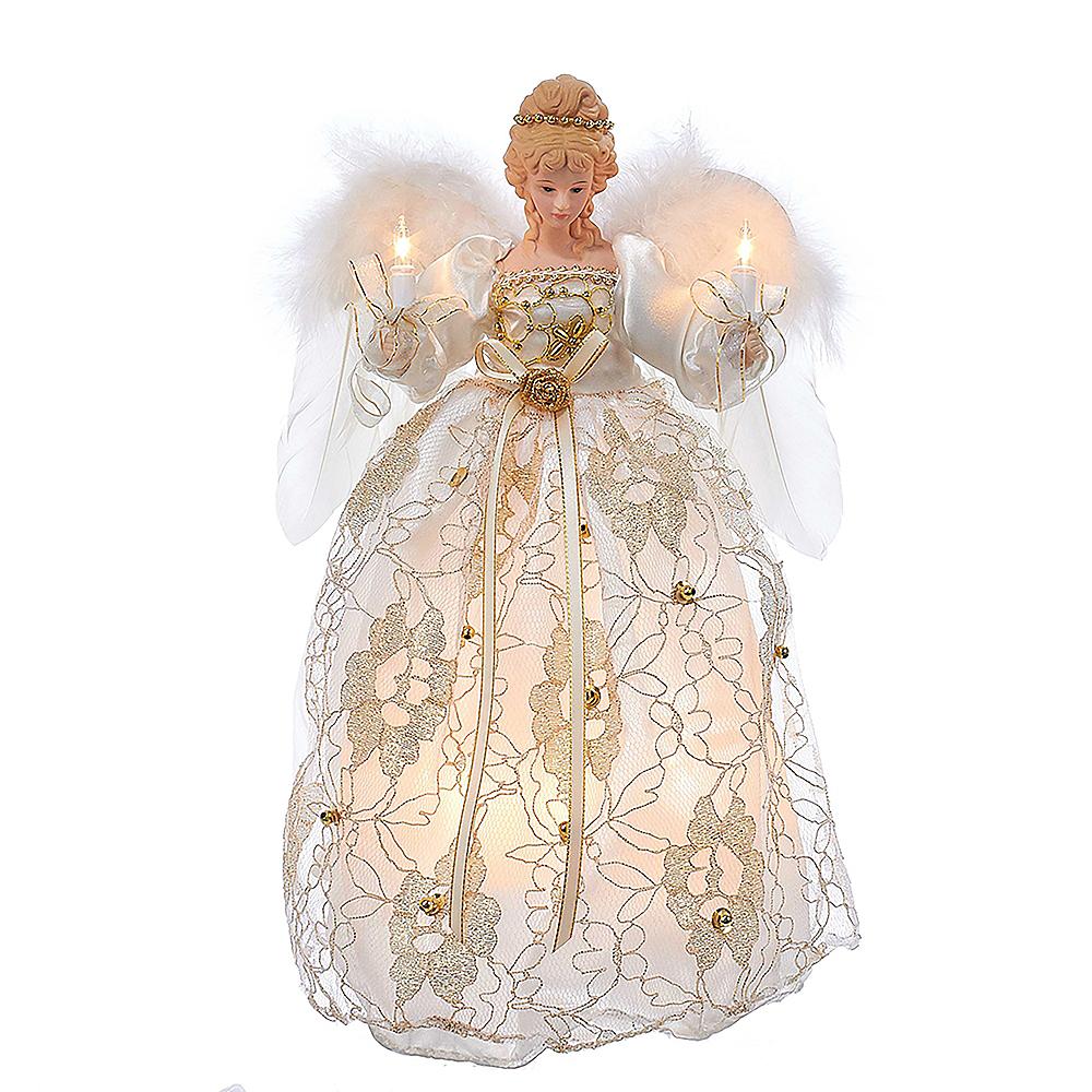 Kurt Adler Light-Up Ivory & Gold Lace Angel Tree Topper Image #1