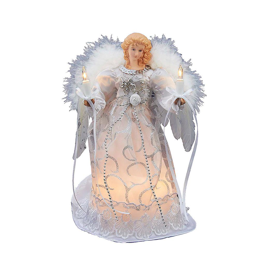 Kurt Adler Light-Up White & Silver Angel Tree Topper Image #1
