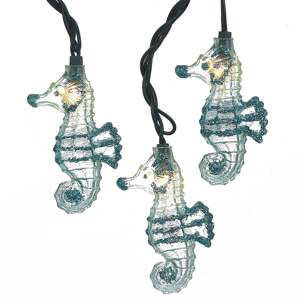 Nav Item for Kurt Adler Glitter Seahorse String Lights Image #1