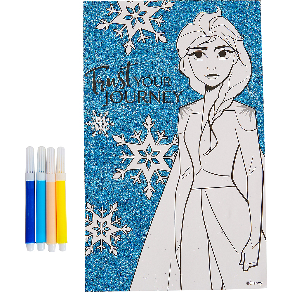 Glitter Frozen 2 Coloring Poster with Markers Image #1