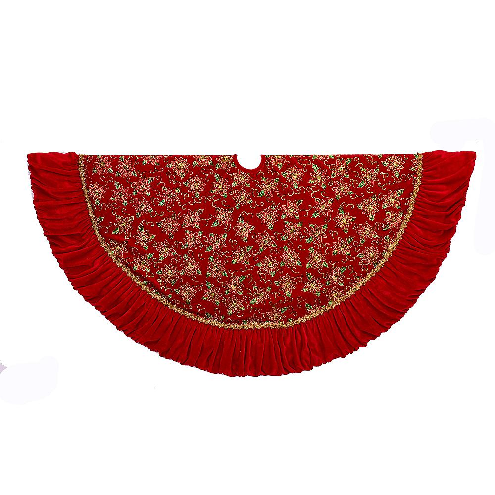 Kurt Adler Red & Gold Poinsettia Tree Skirt with Ruffle Border Image #1