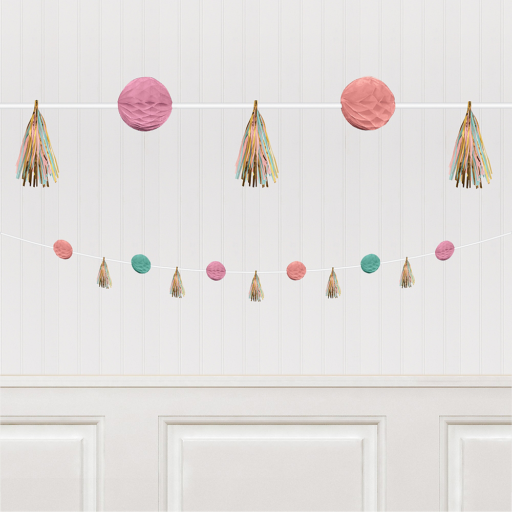 Pastel Honeycomb & Tassel Garland, 6ft Image #1