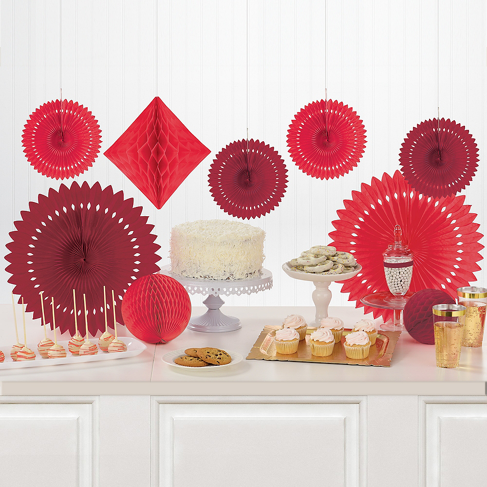 Red Paper Fan & Honeycomb Decorations, 13pc Image #1