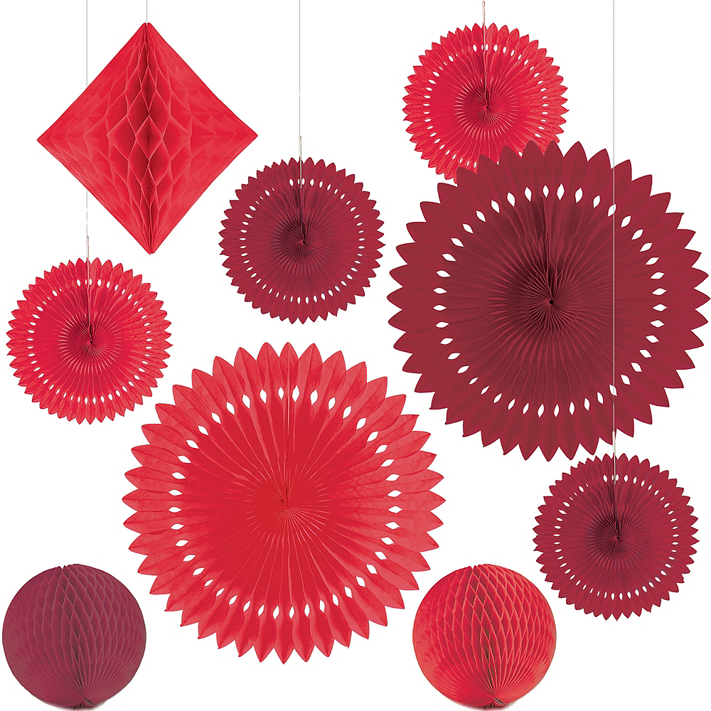Red Paper Fan & Honeycomb Decorations, 13pc Image #2