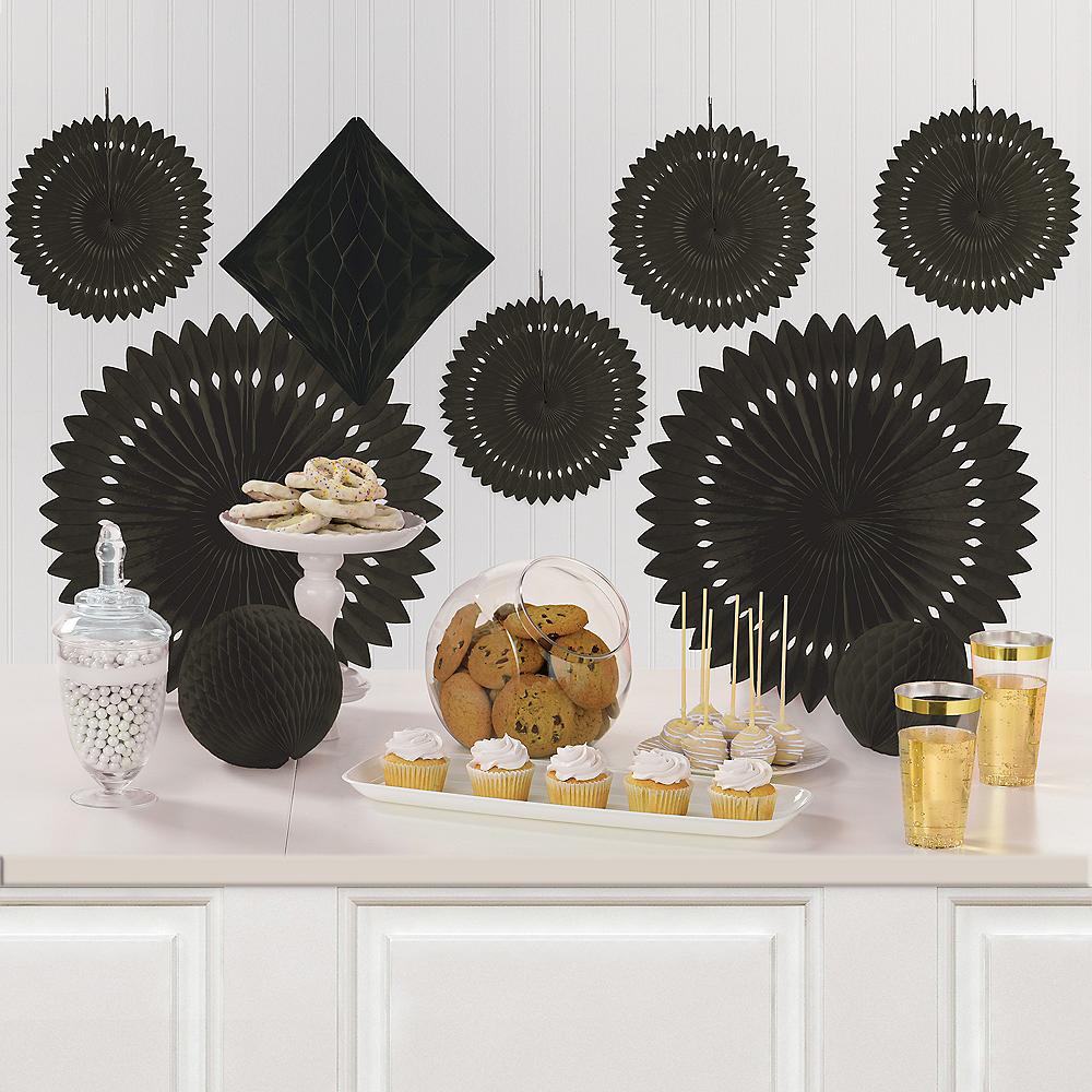 Black Paper Fan & Honeycomb Decorations, 9pc Image #1