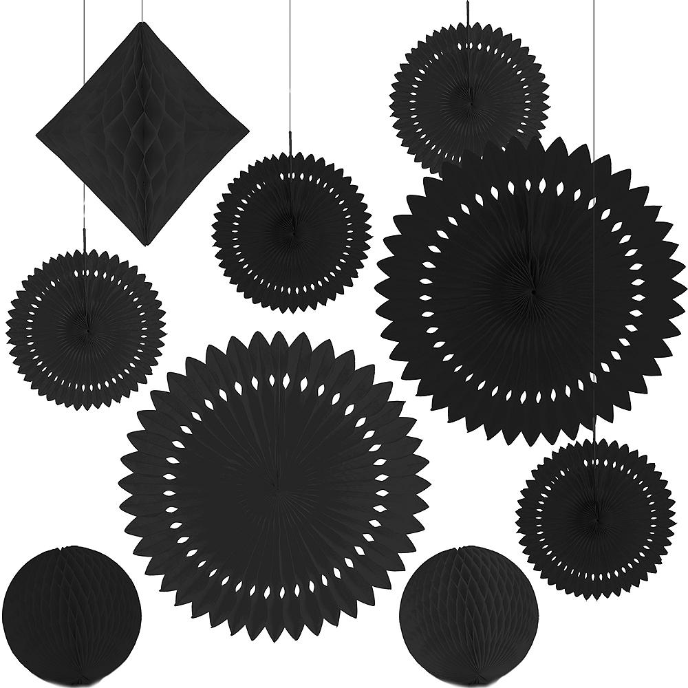 Black Paper Fan & Honeycomb Decorations, 9pc Image #2