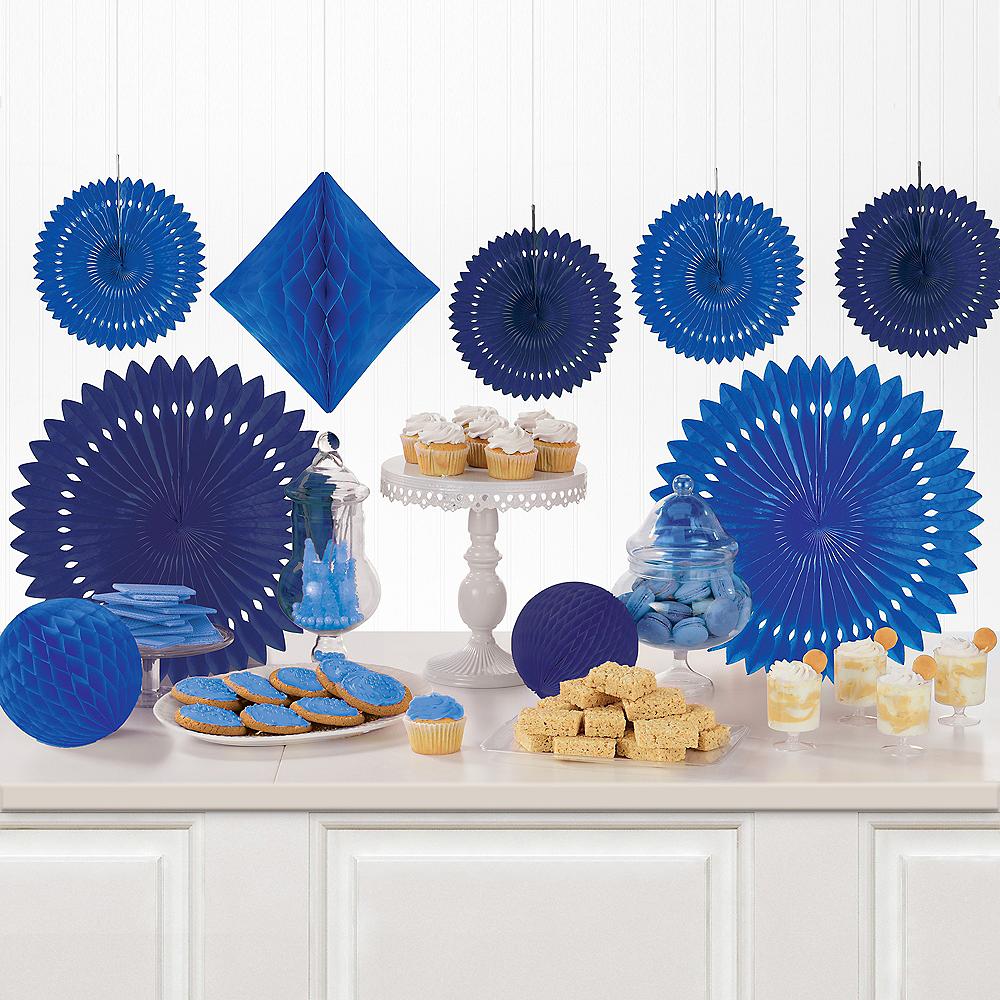 Royal Blue Paper Fan & Honeycomb Decorations, 9pc Image #1