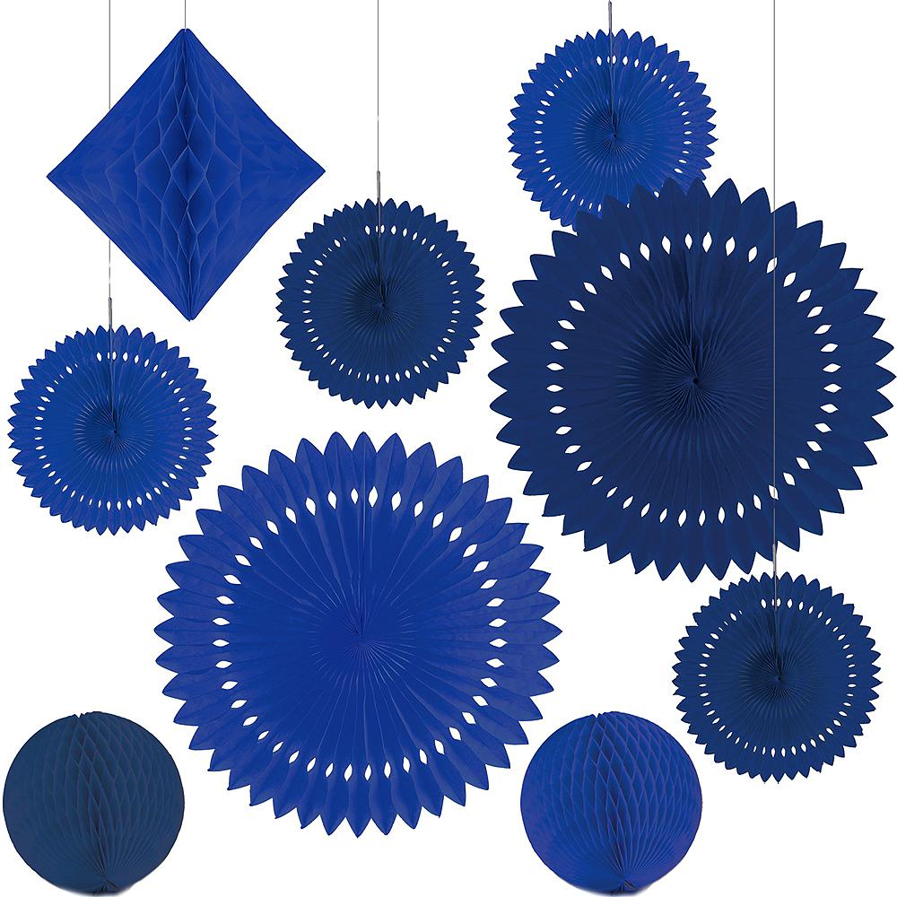 Royal Blue Paper Fan & Honeycomb Decorations, 9pc Image #2
