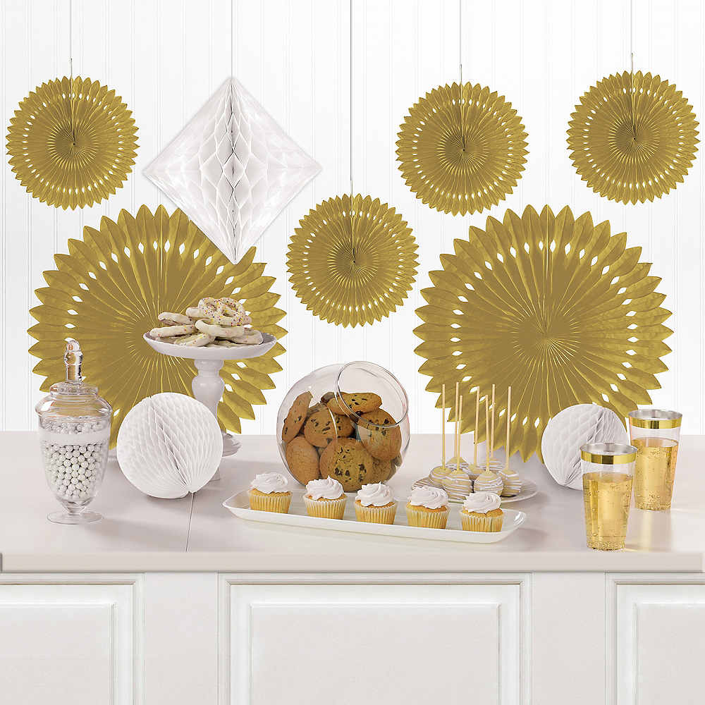 Gold & White Paper Fan & Honeycomb Decorations, 9pc Image #1
