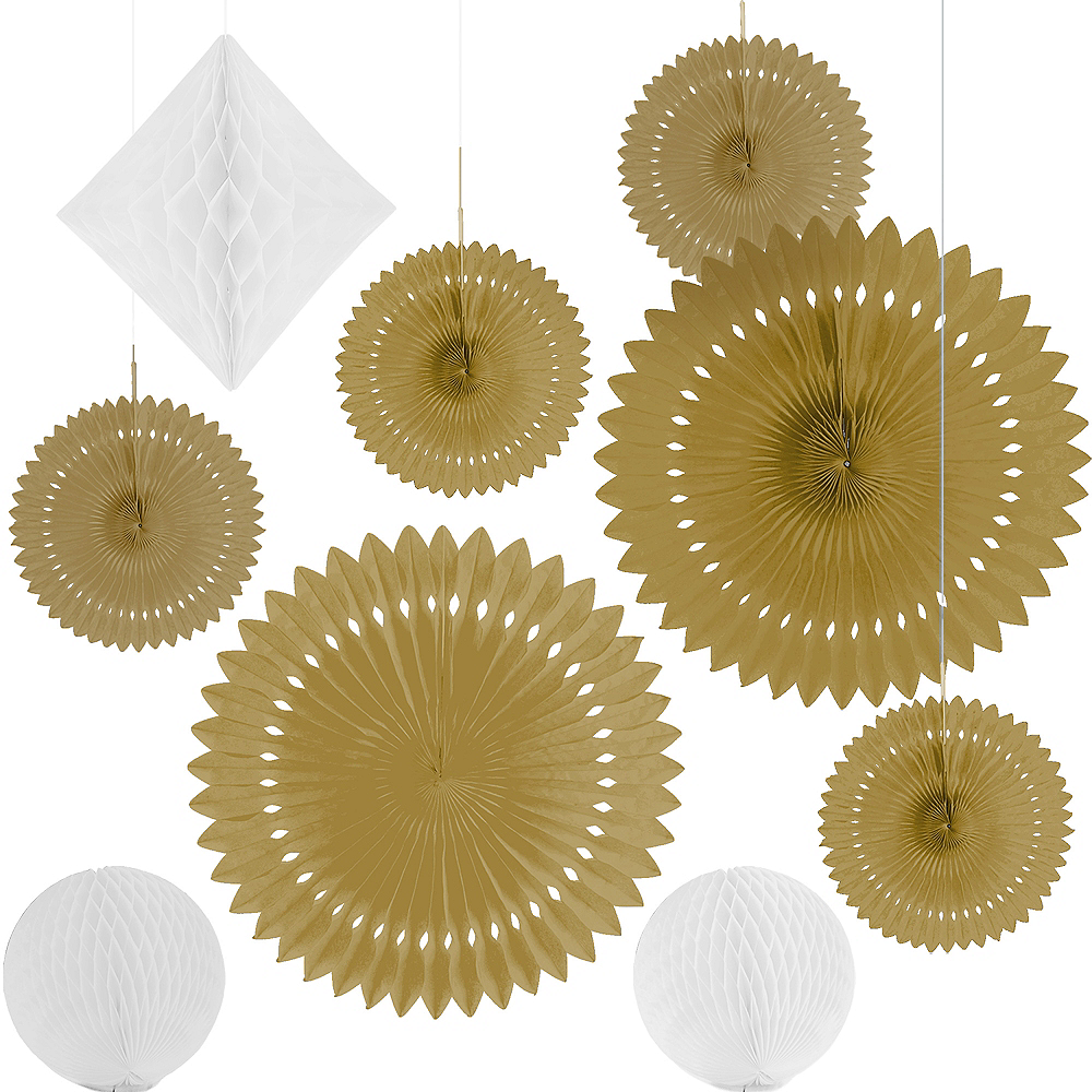 Gold & White Paper Fan & Honeycomb Decorations, 9pc Image #2