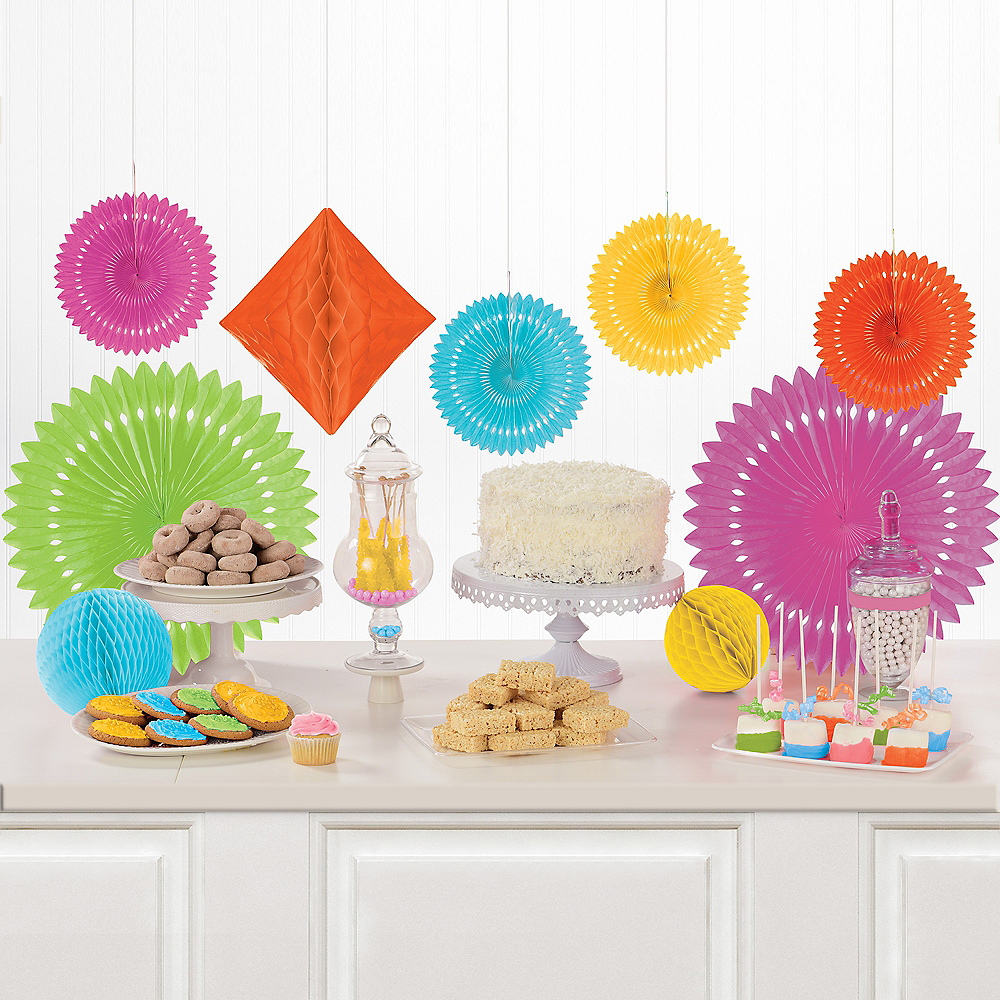Nav Item for Multicolor Paper Fan & Honeycomb Decorations, 9pc Image #1