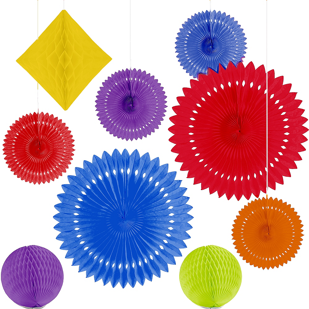 Rainbow Paper Fan & Honeycomb Decorations, 9pc Image #2