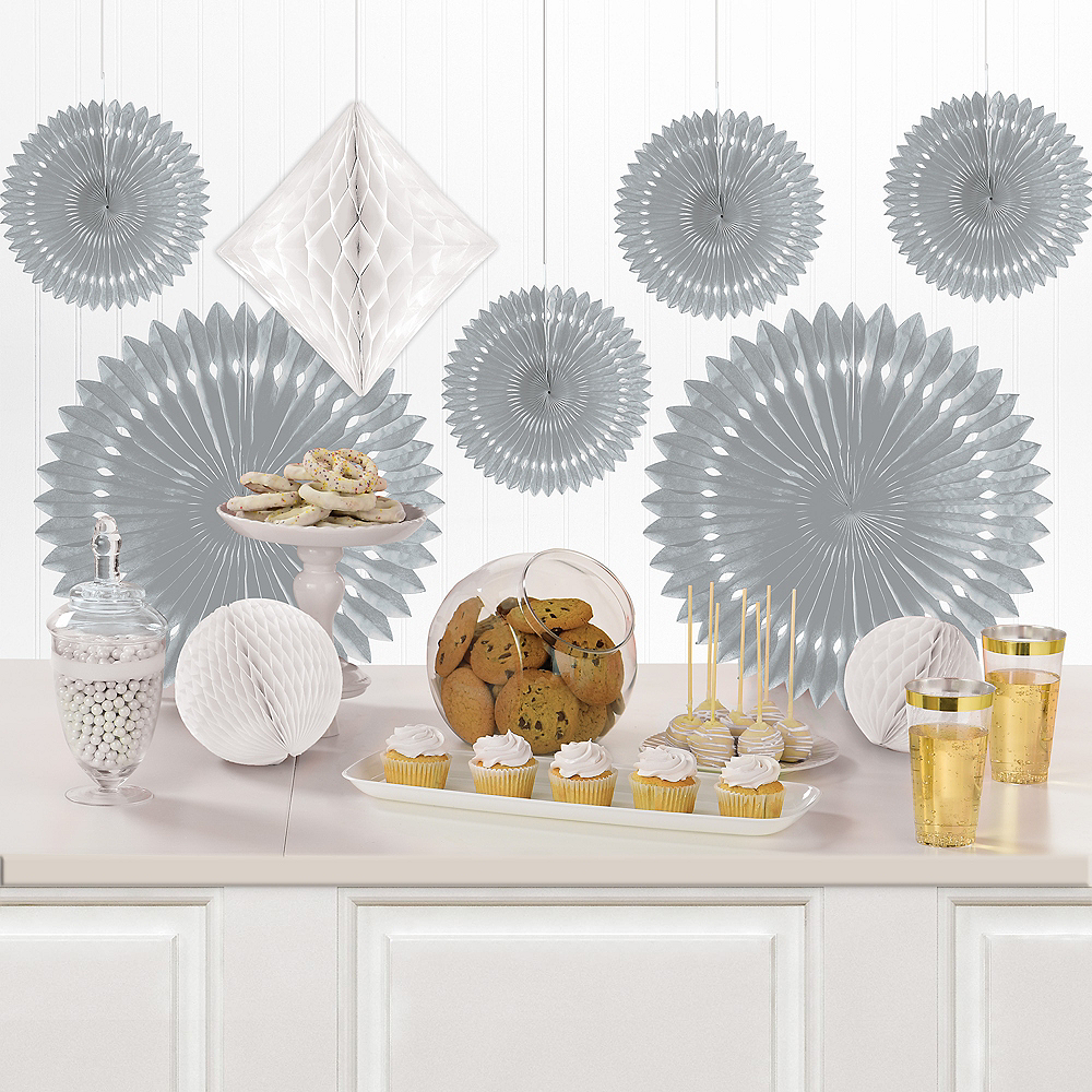 Silver & White Paper Fan & Honeycomb Decorations, 9pc Image #1
