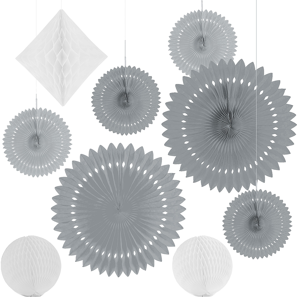 Silver & White Paper Fan & Honeycomb Decorations, 9pc Image #2