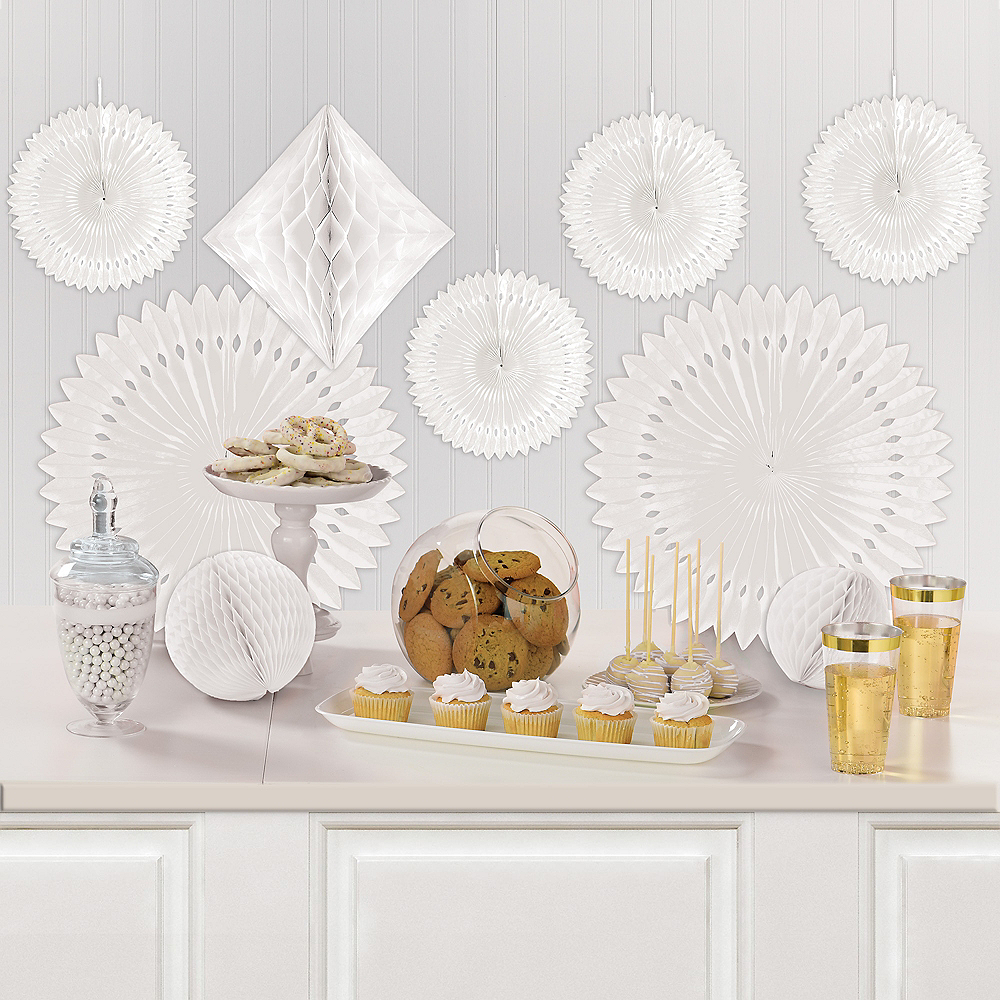 White Paper Fan & Honeycomb Decorations, 9pc Image #1