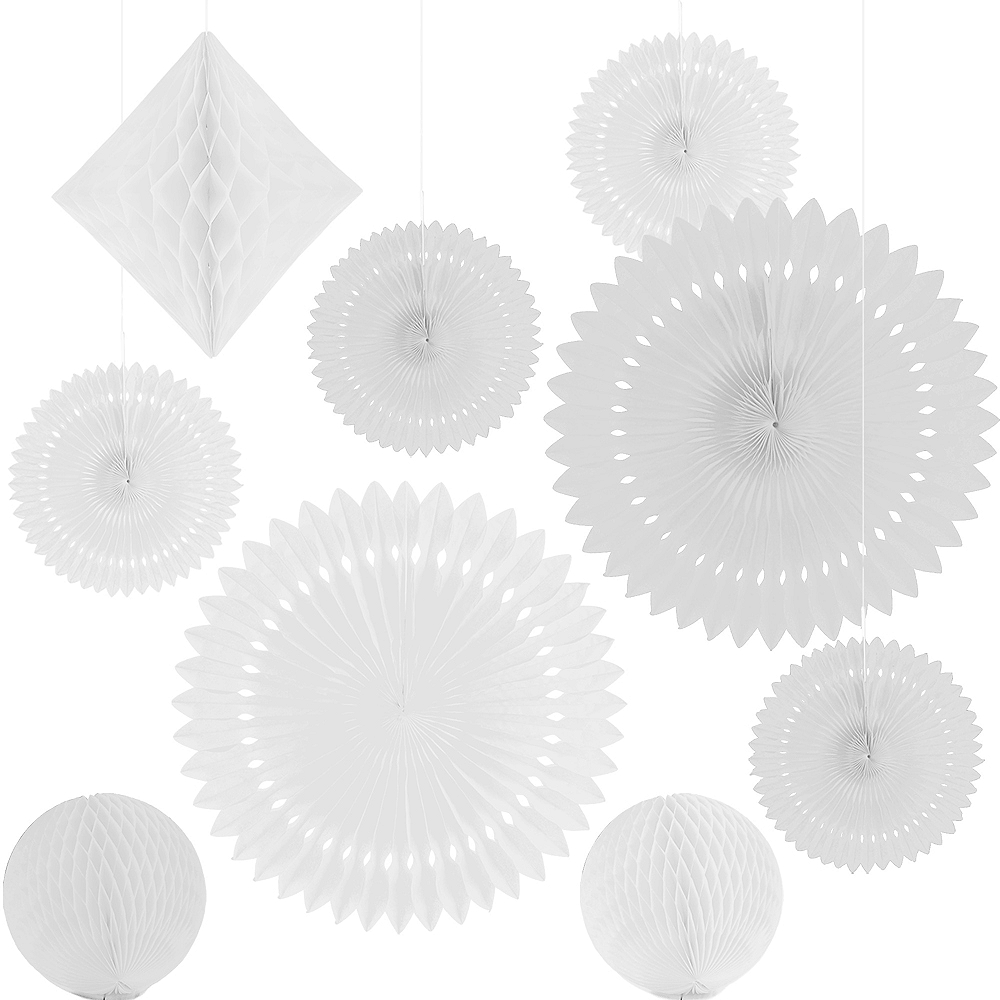 White Paper Fan & Honeycomb Decorations, 9pc Image #2