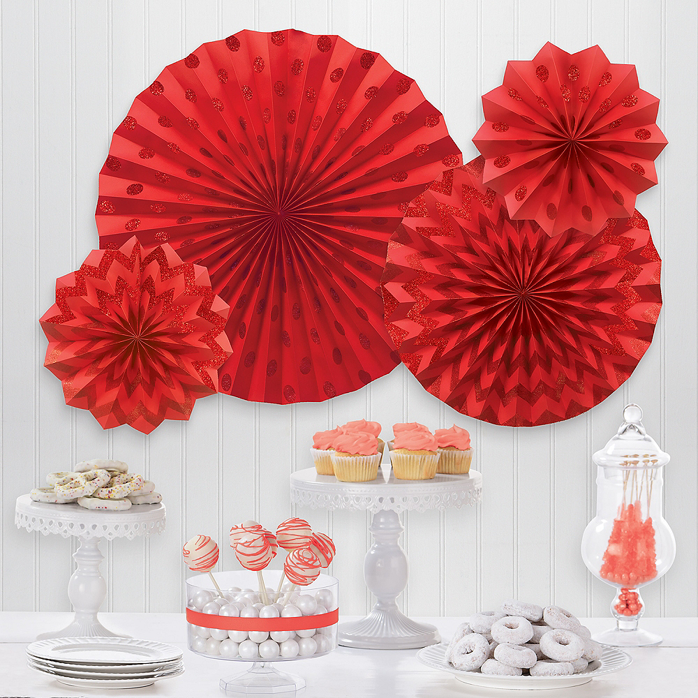 Glitter Red Polka Dot & Chevron Paper Fan Decorations, 4ct Image #1