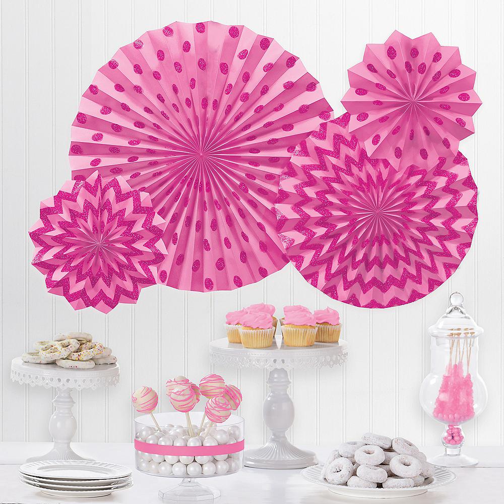 Glitter Bright Pink Polka Dot & Chevron Paper Fan Decorations, 4ct Image #1