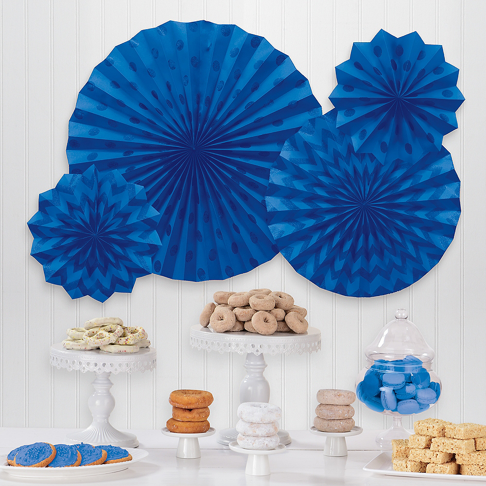 Glitter Royal Blue Polka Dot & Chevron Paper Fan Decorations, 4ct Image #1