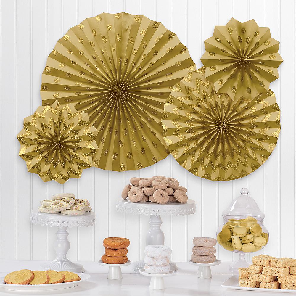 Glitter Gold Polka Dot & Chevron Paper Fan Decorations, 4ct Image #1