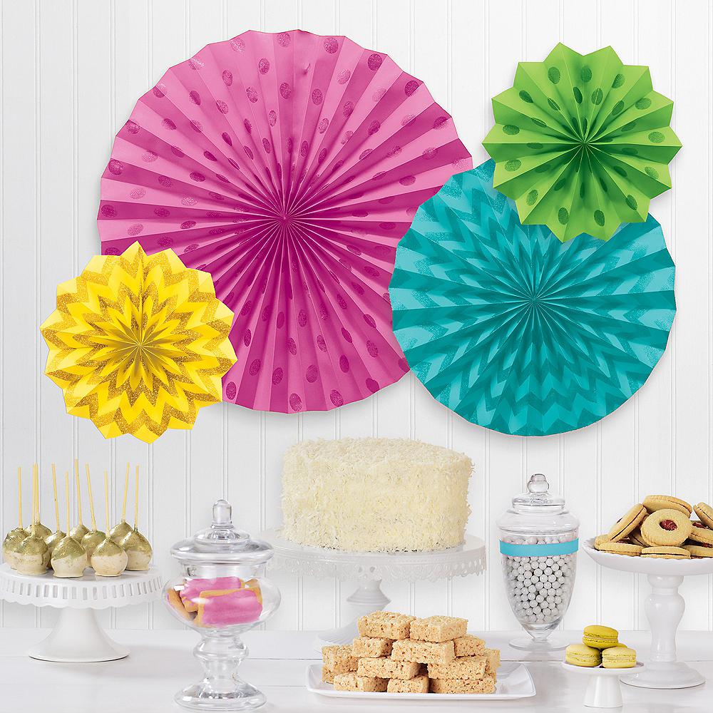 Glitter Bright Multicolor Polka Dot & Chevron Paper Fan Decorations, 4ct Image #1
