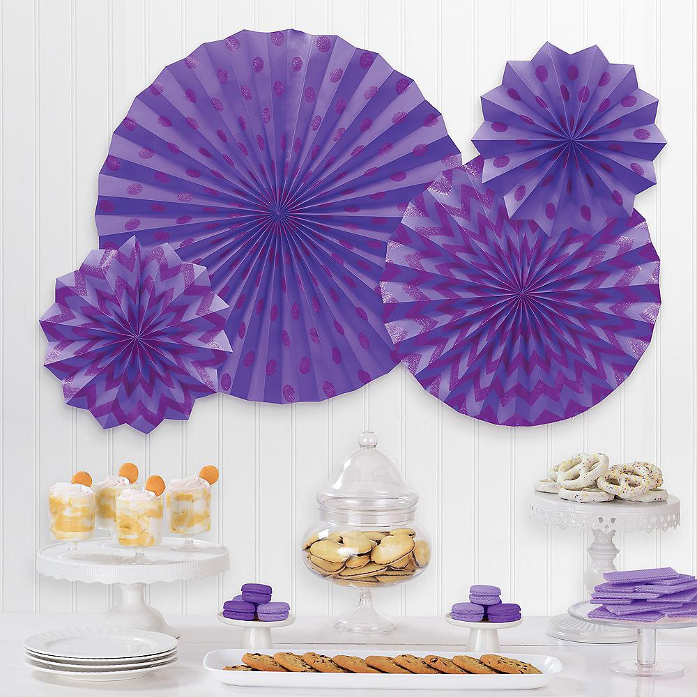 Glitter Purple Polka Dot & Chevron Paper Fan Decorations, 4ct Image #1
