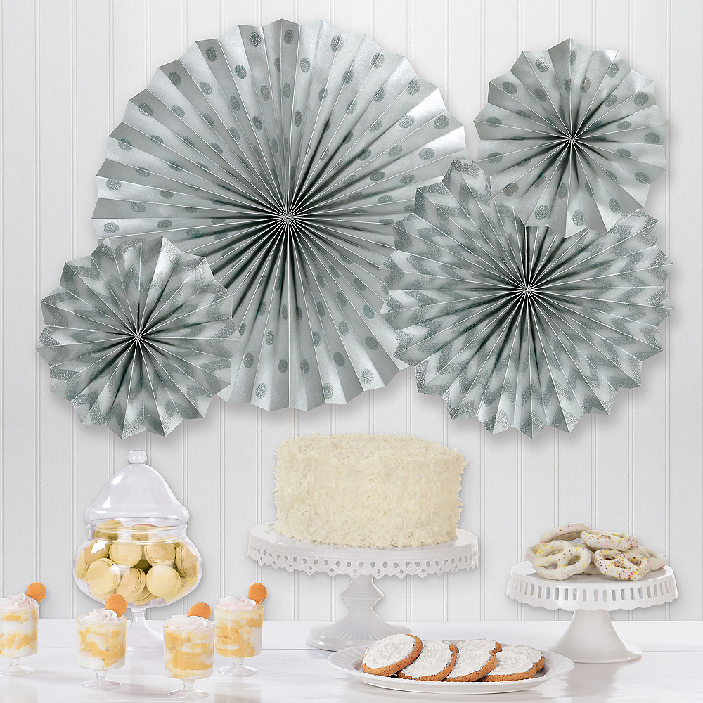 Glitter Silver Polka Dot & Chevron Paper Fan Decorations, 4ct Image #1