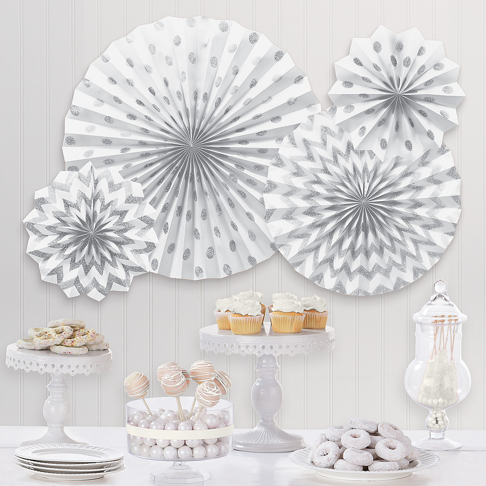 Glitter White & Silver Polka Dot & Chevron Paper Fan Decorations, 4ct Image #1