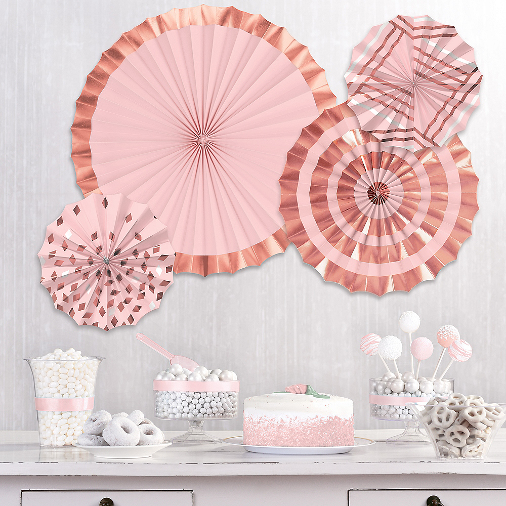 Metallic Rose Gold & Pink Patterned Paper Fan Decorations, 4ct Image #1