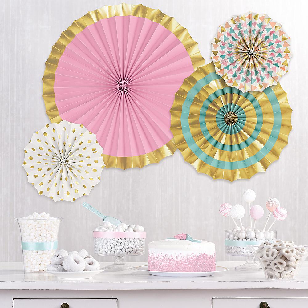 Metallic Gold & Pastel Patterned Paper Fan Decorations, 4ct Image #1