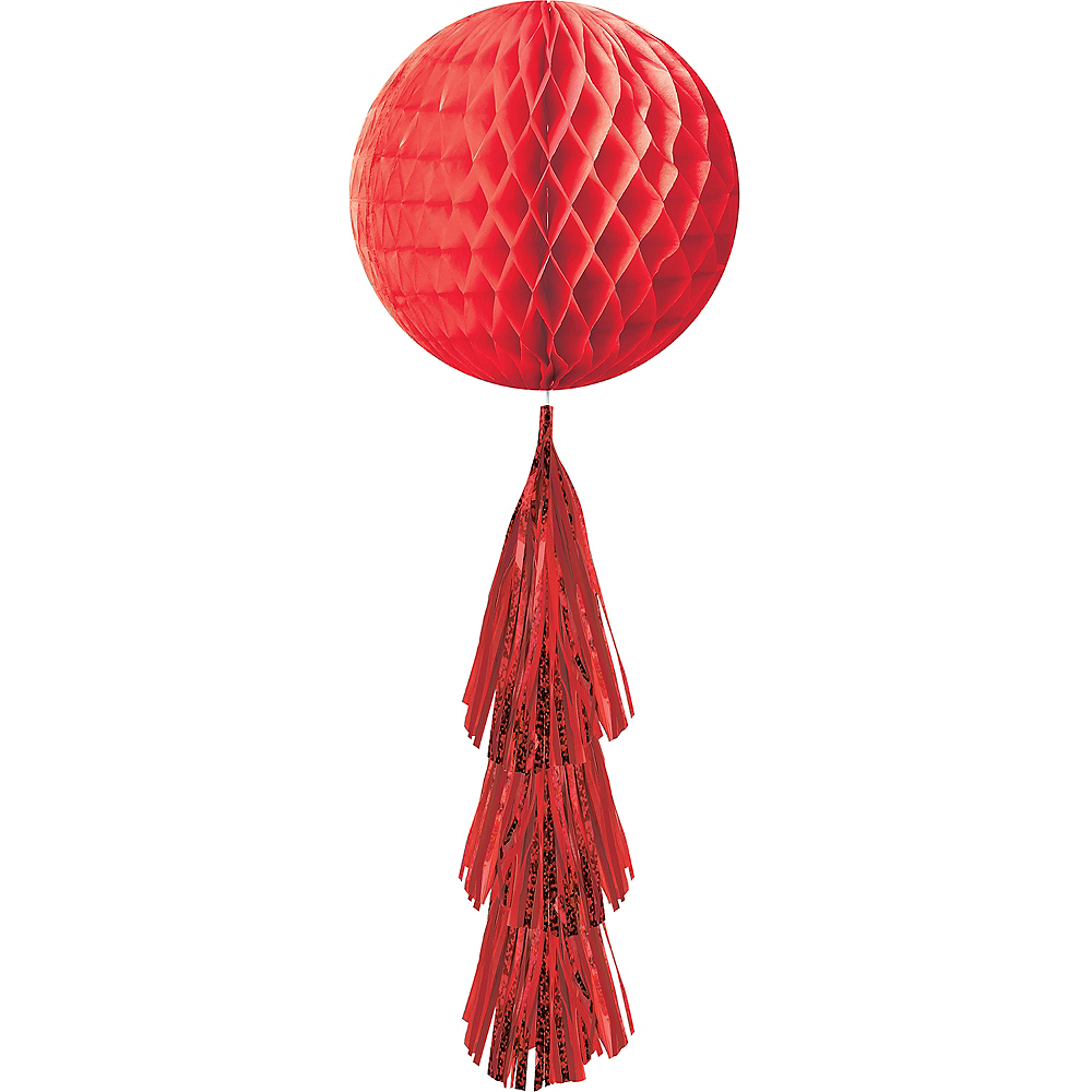 Red Honeycomb Ball Decoration with Tail, 11 1/2in x 27 1/2in Image #1
