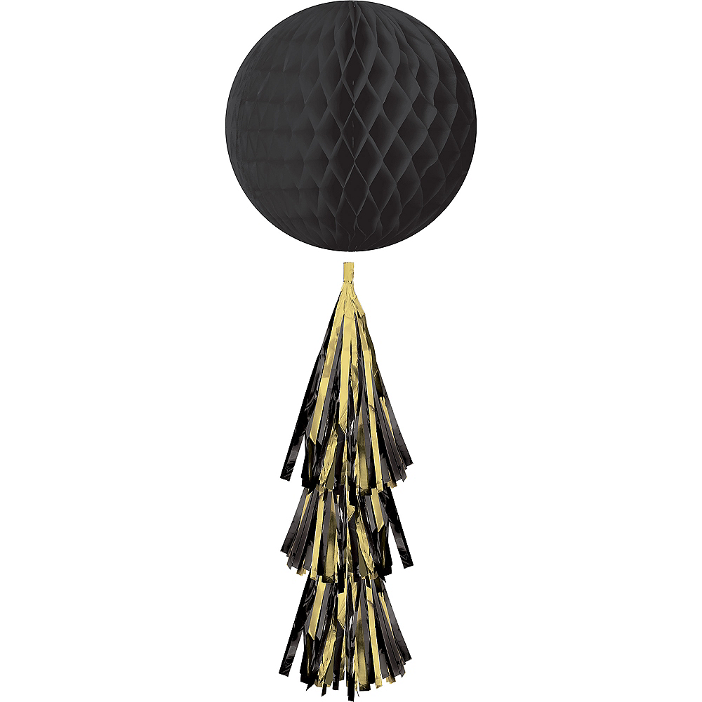 Black Honeycomb Ball Decoration with Tail, 11 1/2in x 27 1/2in Image #1