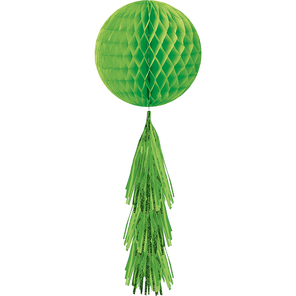Kiwi Green Honeycomb Ball Decoration with Tail, 11 1/2in x 27 1/2in Image #1