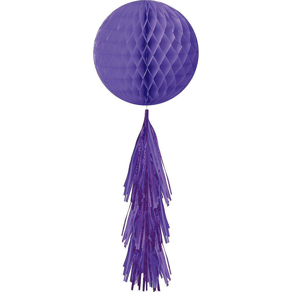 Purple Honeycomb Ball Decoration with Tail, 11 1/2in x 27 1/2in Image #1