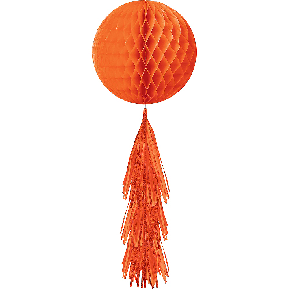 Orange Honeycomb Ball Decoration with Tail, 11 1/2in x 27 1/2in Image #1
