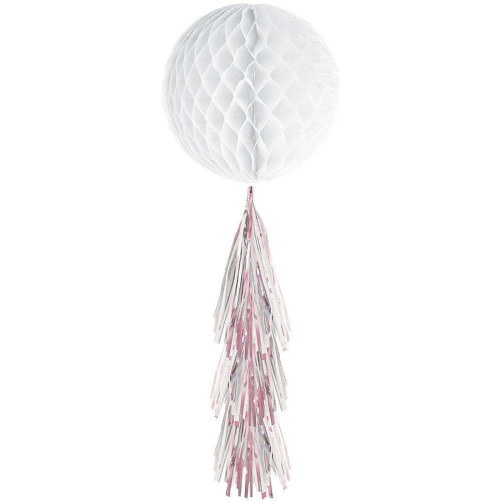 White Honeycomb Ball Decoration with Iridescent Tail, 11 1/2in x 27 1/2in Image #1