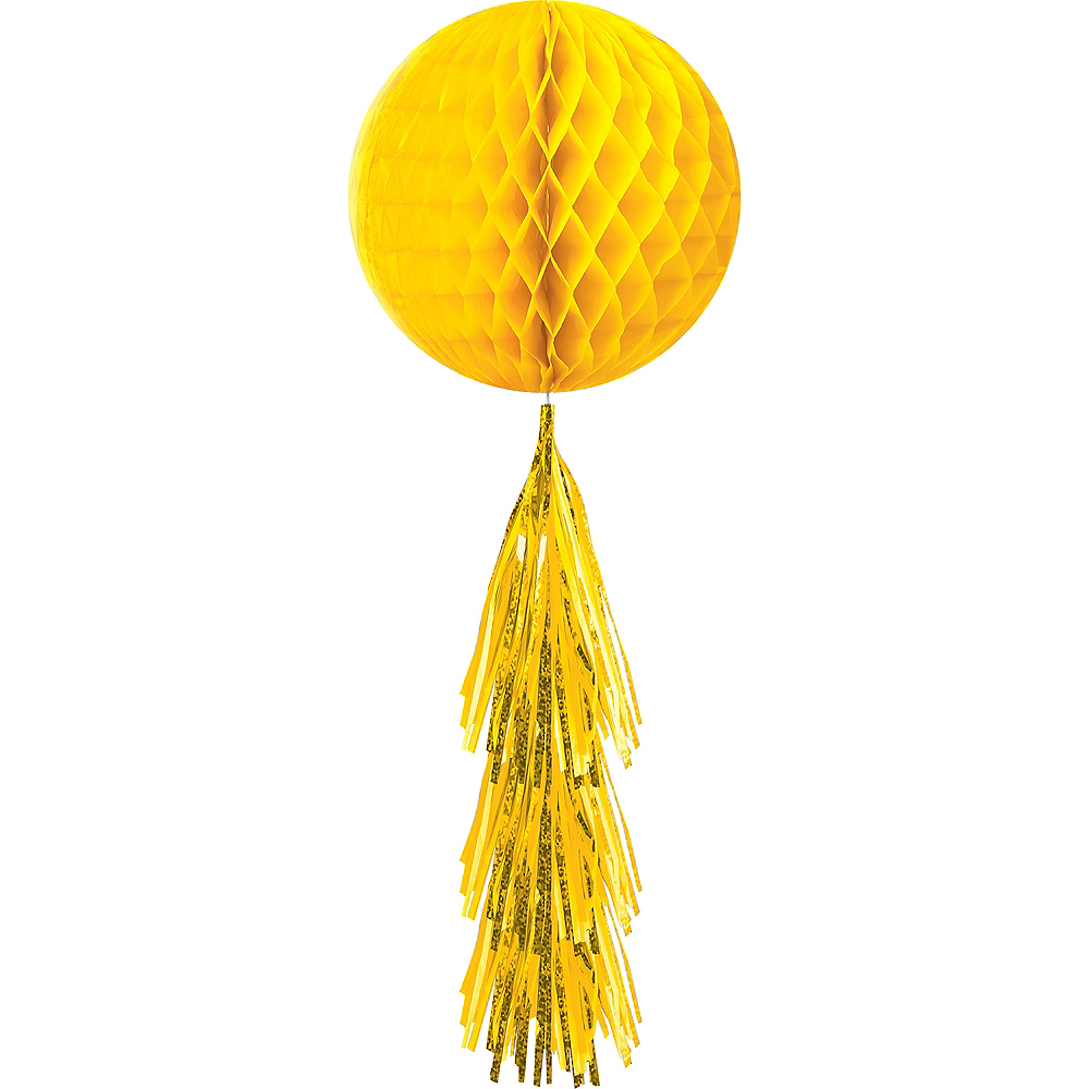 Sunshine Yellow Honeycomb Ball Decoration with Tail, 11 1/2in x 27 1/2in Image #1