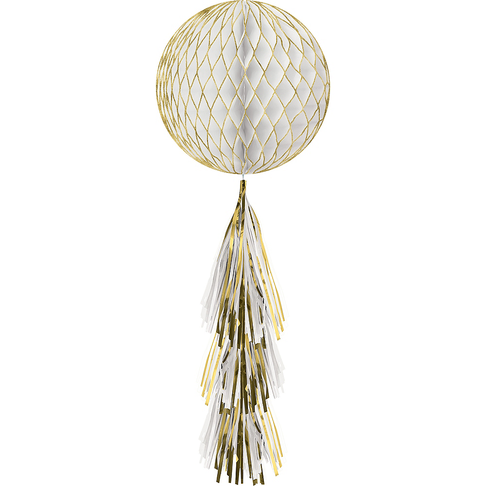 White & Glitter Gold Honeycomb Ball Decoration with Tail, 11 1/2in x 27 1/2in Image #1