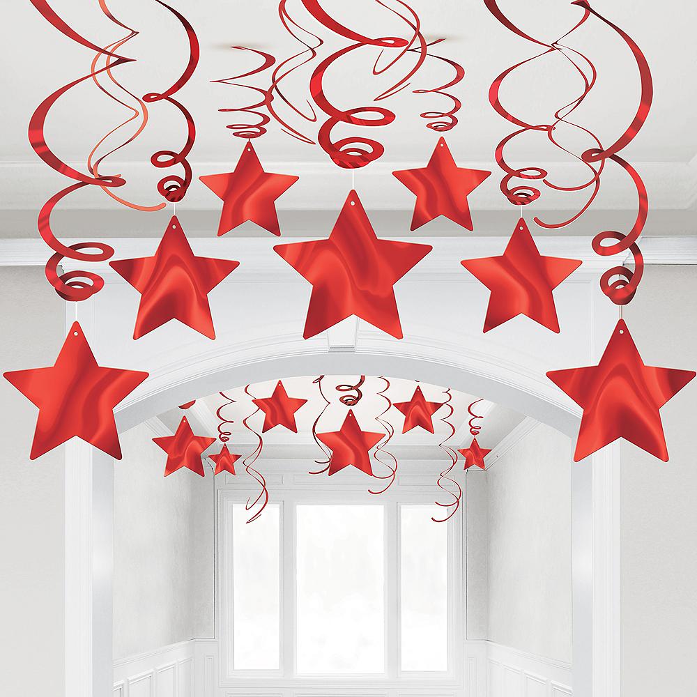 Red Star Swirl Decorations, 30ct Image #1
